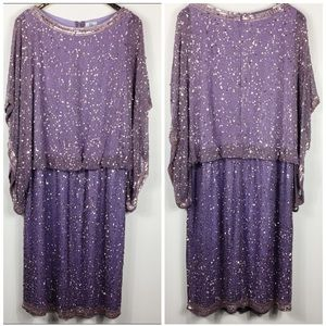 Sequin Bead Waterfall Sleeve Boat Blouson Lavender